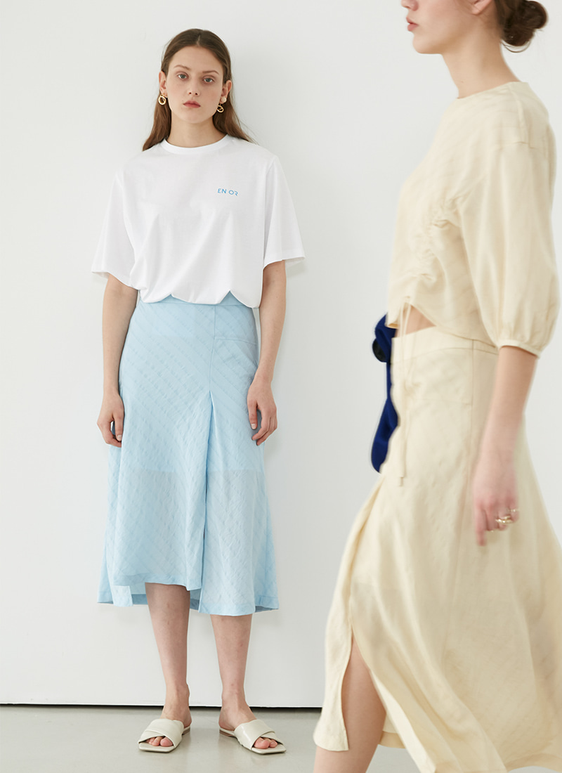 UNBALANCED SLIT SKIRT - SKYBLUE