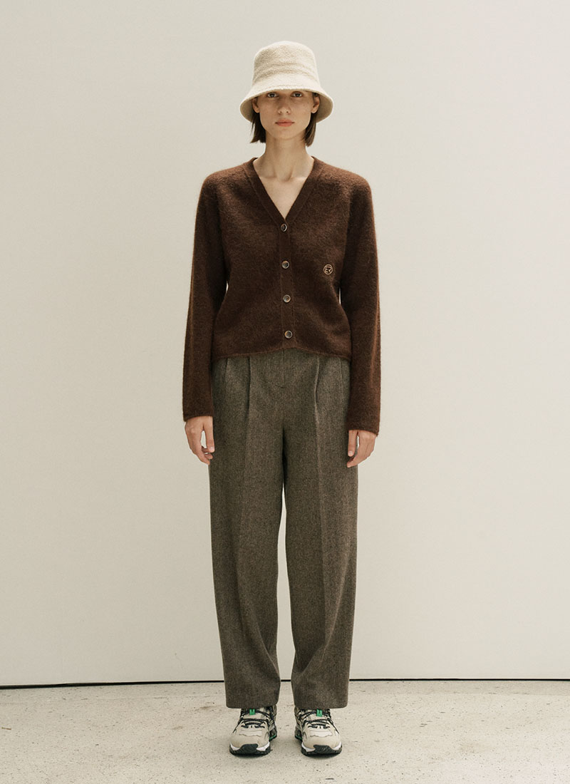 MOHAIR WOOL CARDIGAN - BROWN