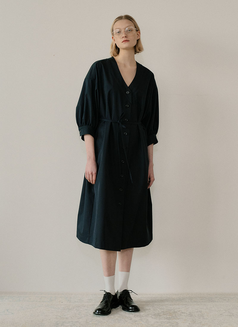PUFF SHIRT DRESS - NAVY