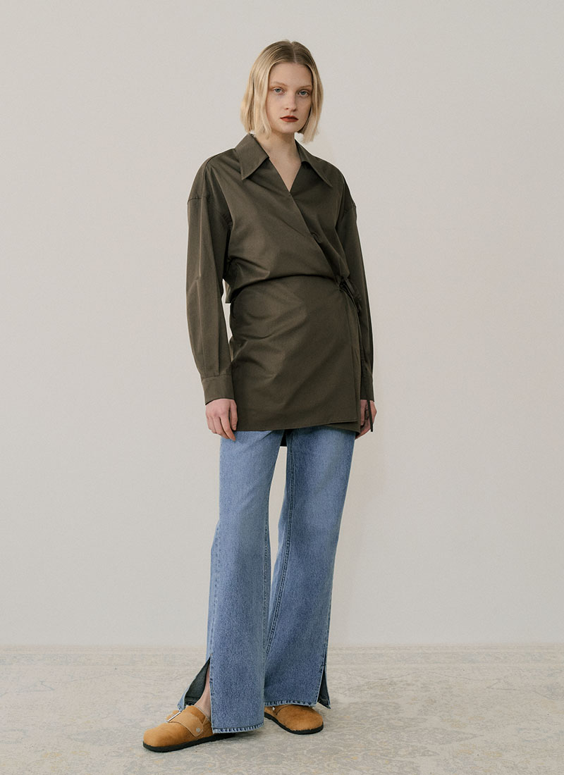 SHIRT WRAP DRESS - KHAKI