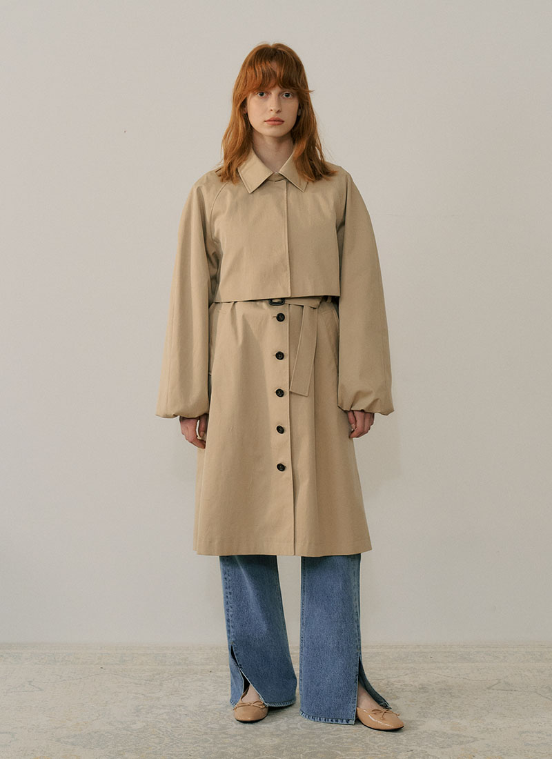 *신다은 착용* PUFF SLEEVE TRENCH COAT - BEIGE