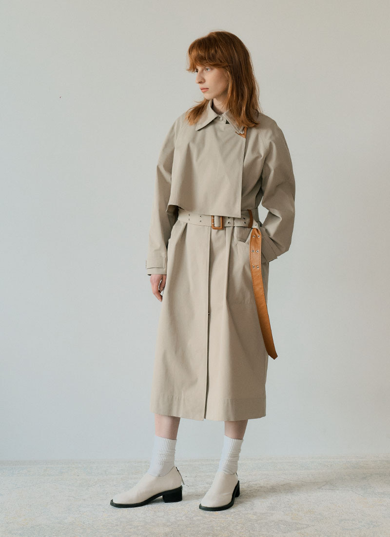 BELT POINT TRENCH COAT - MINT